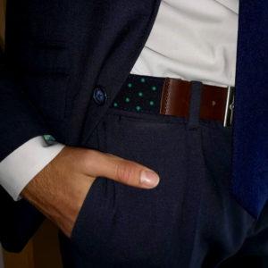 Cinturón lunares verdes y plique de pìel
