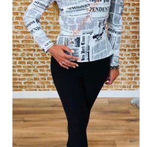 camisa de mujer con manga farol y escote delantero