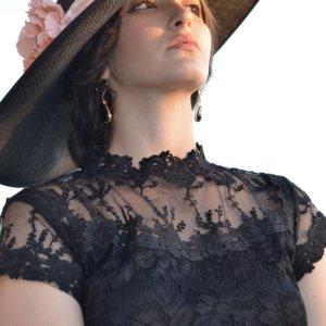 Pamela buntal negra para ceremonias y eventos