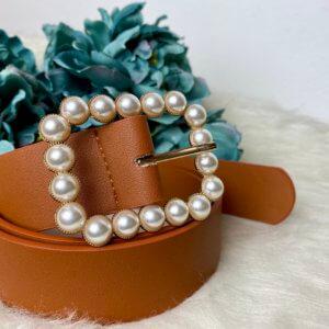 cinturón hebilla de perlas